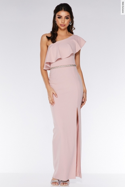 Blush Asymmetric Diamante Waistband Maxi Dress